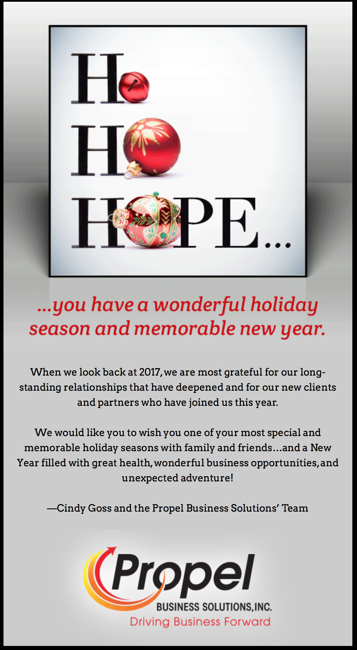 Happy Holidays from Propel Business Solutions