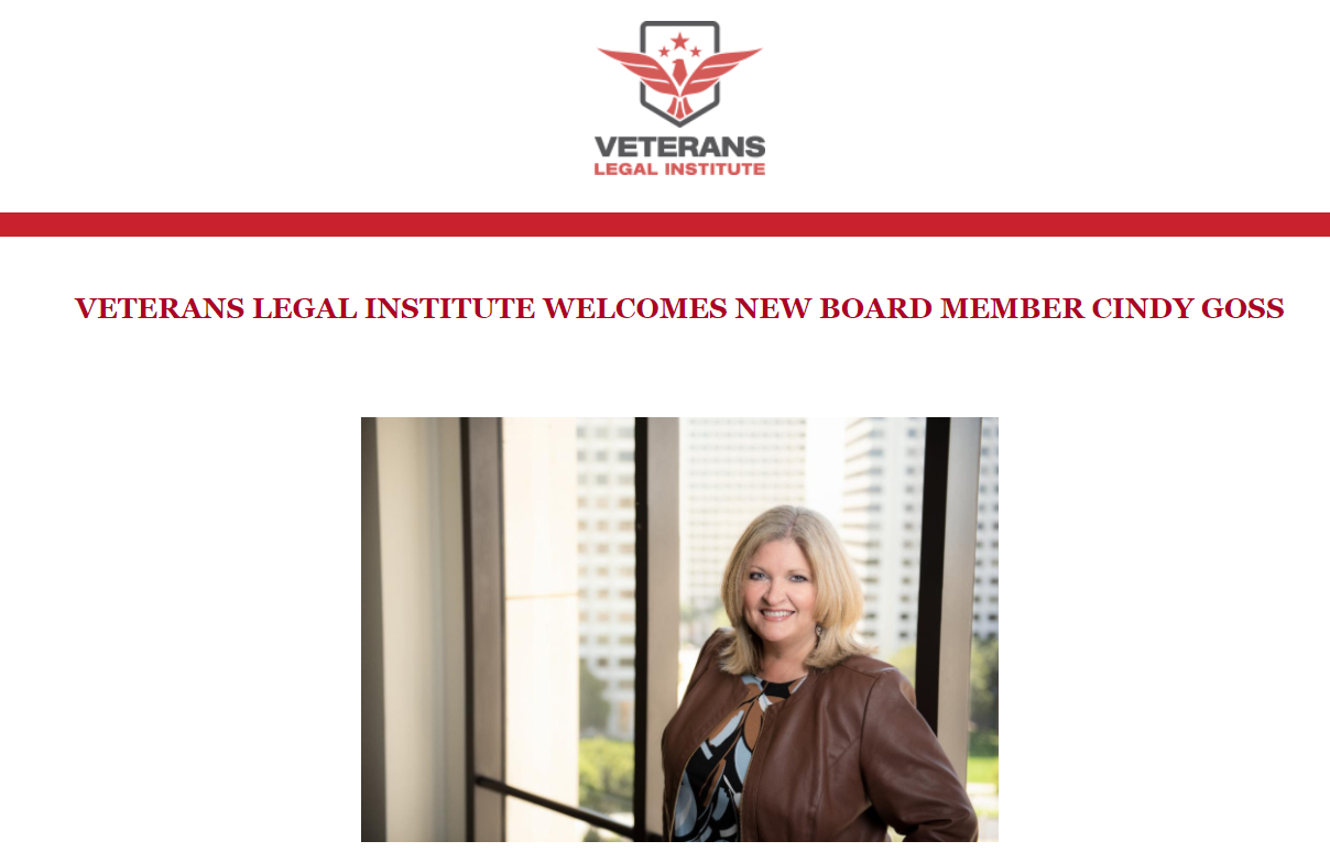 VETERANS LEGAL INSTITUTE WELCOMES NEW BOARD MEMBER CINDY GOSS